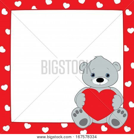 Vector red frame with hearts pattern. Gray teddy bear sitting in the lower right corner and holding heart symbol. Place for text on a white background. Square format.