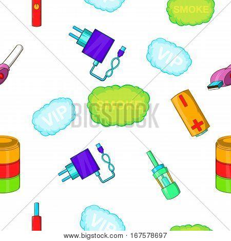 Electronic smoking cigarette pattern. Cartoon illustration of electronic smoking cigarette vector pattern for web