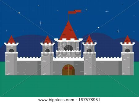 Beautiful fortress at night, stars, nature. Vector flat castle, fairytale landscape. Flat vector fortress illustration, nature landscape.