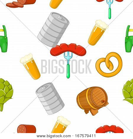 Beer holiday pattern. Cartoon illustration of beer holiday vector pattern for web