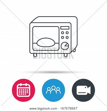 Microwave oven icon. Kitchen appliance sign. Group of people, video cam and calendar icons. Vector
