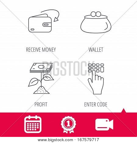 Achievement and video cam signs. Cash money, profit and wallet icons. Receive money, enter code linear sign. Calendar icon. Vector