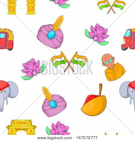 Tourism in India pattern. Cartoon illustration of tourism in India vector pattern for web