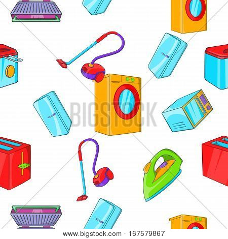 Home appliances pattern. Cartoon illustration of home appliances vector pattern for web