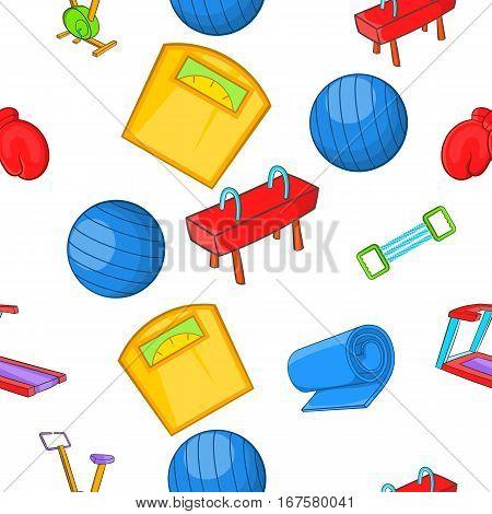 Classes in fitness room pattern. Cartoon illustration of classes in fitness room vector pattern for web