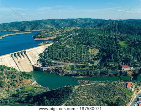 photo of Aerial View of Pomarao Dam Portugal