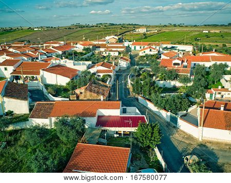 Aerial View Red Tiles Roofs Typical Village
