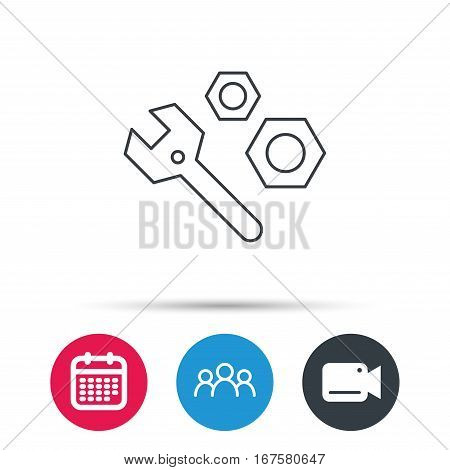 Repair icon. Spanner tool with screw-nut sign. Group of people, video cam and calendar icons. Vector