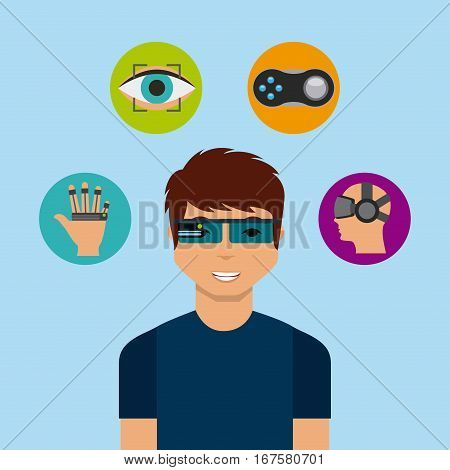 man cartoon with augmented reality visor and accessories around over blue background. colorful design. vector illustration