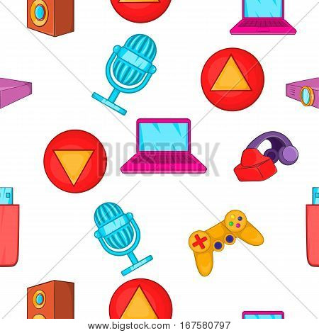 Electronic gadget pattern. Cartoon illustration of electronic gadget vector pattern for web