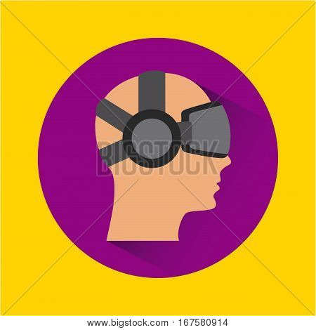 man face cartoon with augmented reality visor icon over purple circle and yellow background. colorful design. vector illustration