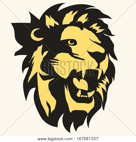 Lion logo. Mascot head, wild animal portrait emblem, predator face silhouette, Hand drawn cat Emblem t-shirt design. Vector