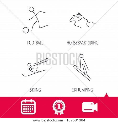 Achievement and video cam signs. Horseback riding, football and skiing icons. Ski jumping linear sign. Calendar icon. Vector