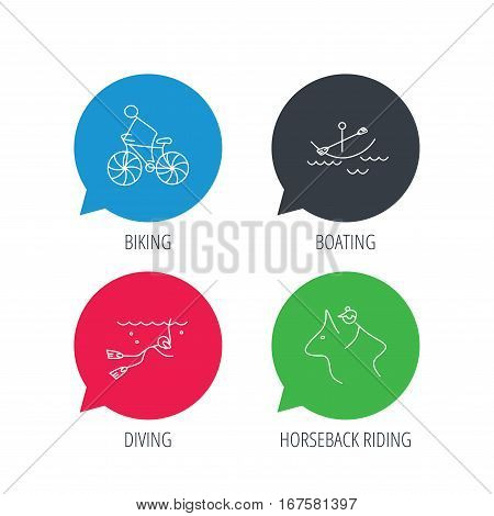 Colored speech bubbles. Diving, biking and horseback riding icons. Boating linear sign. Flat web buttons with linear icons. Vector