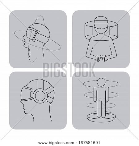 man with augmented reality visor and accessories over gray squares and white background. vector illustration