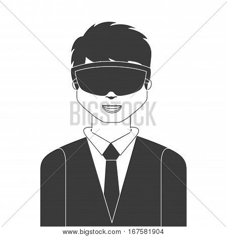 man with augmented reality visor over white background. vector illustration