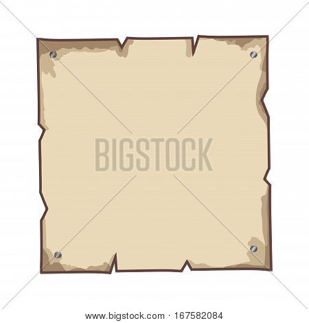 torn parchment with steel brad vector illustration