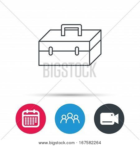 Toolbox icon. Repair instruments sign. Group of people, video cam and calendar icons. Vector