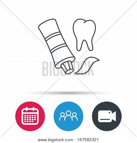 Toothpaste icon. Teeth health care sign. Group of people, video cam and calendar icons. Vector