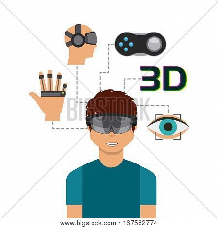 man cartoon with augmented reality visor and accessories around over white background. colorful design. vector illustration