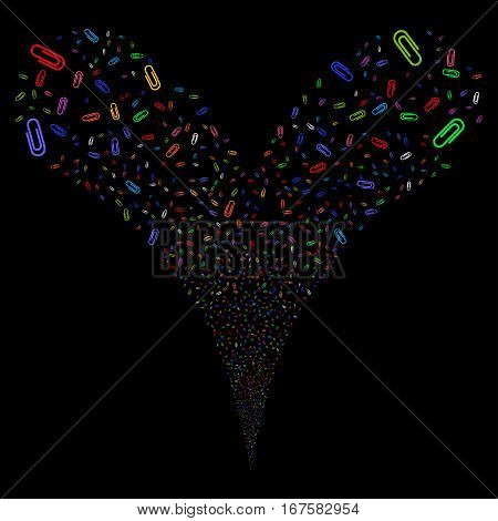 Attach fireworks stream. Vector illustration style is flat bright multicolored iconic symbols on a black background. Object double fountain constructed from random icons.