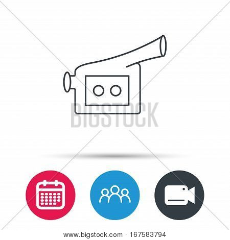 Video camera icon. Retro cinema sign. Group of people, video cam and calendar icons. Vector