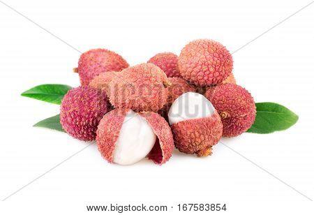 lychee fresh fruits isolated on white background