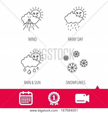 Achievement and video cam signs. Snowflakes, sun and rain icons. Wind linear sign. Calendar icon. Vector