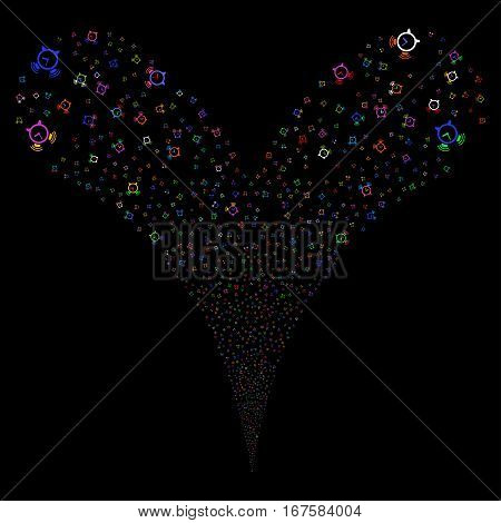 Buzzer fireworks stream. Vector illustration style is flat bright multicolored iconic symbols on a black background. Object double fountain organized from random pictograms.