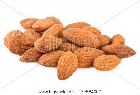 Almond closeup. Heap of shelled almond nuts isolated on white