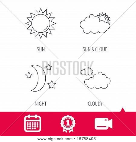 Achievement and video cam signs. Weather, sun and cloudy icons. Moon night linear sign. Calendar icon. Vector