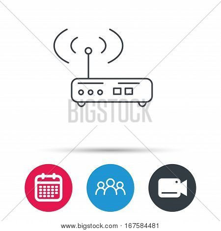 Wi-fi router icon. Wifi wireless internet sign. Device with antenna symbol. Group of people, video cam and calendar icons. Vector