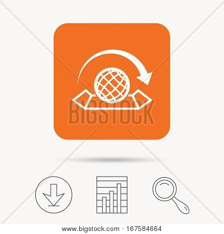World map icon. Globe with arrow sign. Travel location symbol. Report chart, download and magnifier search signs. Orange square button with web icon. Vector