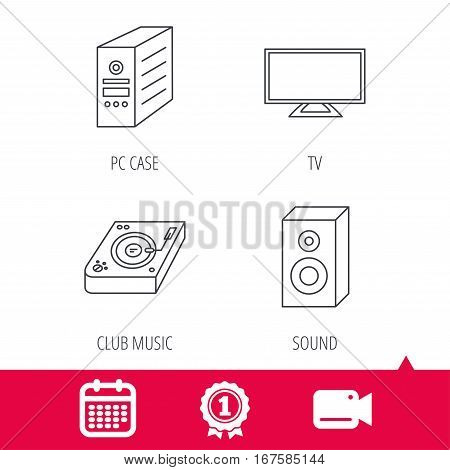 Achievement and video cam signs. Sound, club music and pc case icons. TV linear sign. Calendar icon. Vector