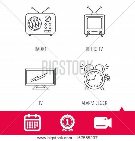 Achievement and video cam signs. TV, retro radio and alarm clock icons. Widescreen TV linear sign. Calendar icon. Vector