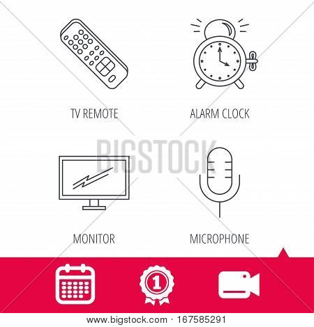Achievement and video cam signs. Microphone, alarm clock and TV remote icons. Widescreen TV linear sign. Calendar icon. Vector