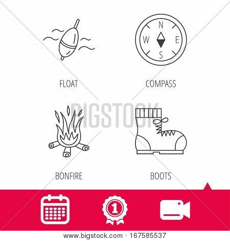 Achievement and video cam signs. Bonfire, fishing float and hiking boots icons. Compass linear sign. Calendar icon. Vector