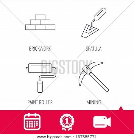 Achievement and video cam signs. Brickwork, spatula and mining icons. Paint roller linear sign. Calendar icon. Vector