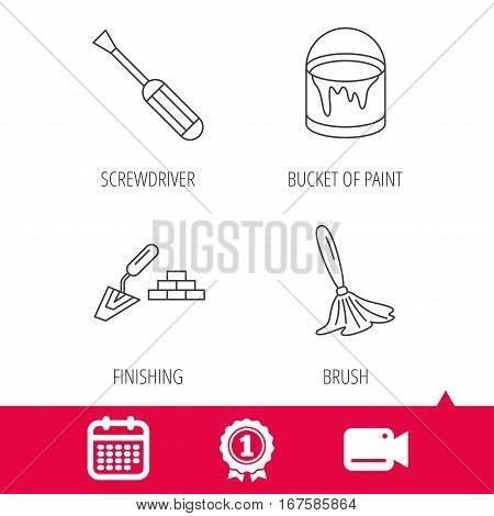 Achievement and video cam signs. Spatula, screwdriver and paint brush icons. Brush linear sign. Calendar icon. Vector