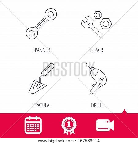 Achievement and video cam signs. Spanner repair tool, spatula and bolt icons. Drill linear sign. Calendar icon. Vector