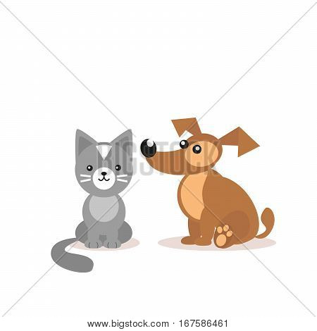 Cat and dog. Two friends. Pets Veterinary Clinic. Cartoon illustration isolated on white background. Vector, EPS10