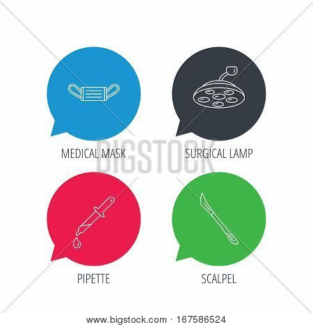 Colored speech bubbles. Medical mask, scalpel and pipette icons. Surgical lamp linear sign. Flat web buttons with linear icons. Vector