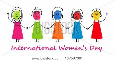 Colorful stick figure women are holding hands. Eps10