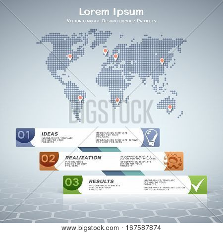 Business infographic design with numbered steps and dotted world map