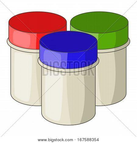Three jars with gouache icon. Cartoon illustration of three jars with gouache vector icon for web