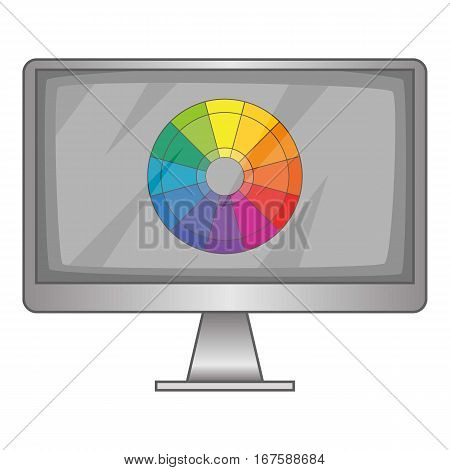 Computer monitor with color spectrum icon. Cartoon illustration of computer monitor with color spectrum vector icon for web