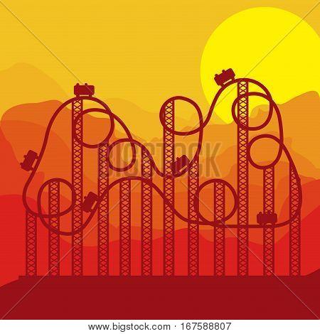 background roller coaster in amusement park vector illustration