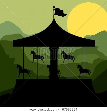 sunset background merry go round with horses vector illustration