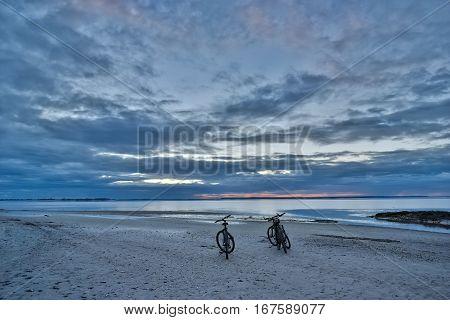 Bikes enjoying a sunset at Jekyll Island Georgia