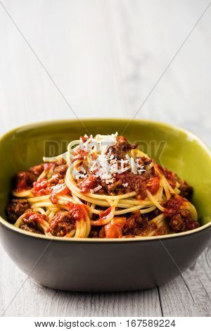 Spaghetti Bolognese With Parmesan Cheese